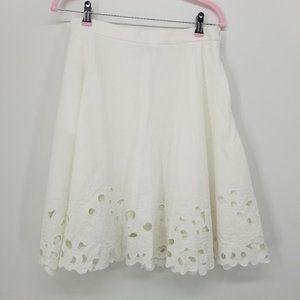 Ann Taylor Linen Blend Eyelet Skirt 6